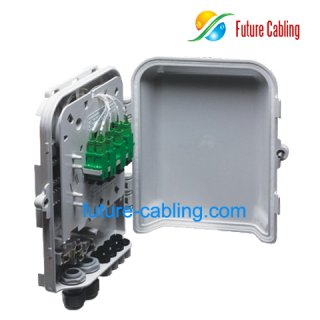 8 Fiber FTTH Splitter Distribution Box, Plastic, Outdoor Use