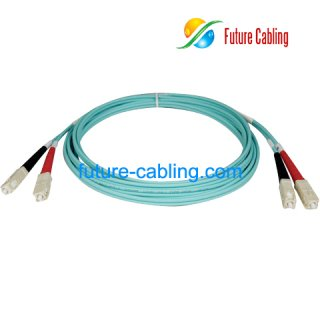 SC-SC 10 Gigabit Fibre Optic Patch Leads, Duplex, Multimode, 50/125um, OM3, 3.0mm, XX Meter