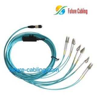 MPO-LC Break Out Cable, Flat, Multimode, 10 Gigabit OM3, XX Meter