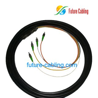 FC/APC Waterproof Fiber Optic Pigtail, 4 Fiber, Singlemode