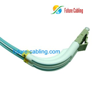 LC 90 Degree Fiber Optic Patch Cords, Simplex, 10 Gigabit, Multimode OM3, 50/125um, 3.0mm