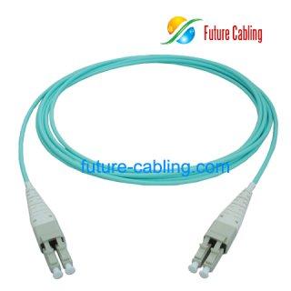 LC Uni-boot Fiber Optic Patch Cords, Duplex, 10 Gigabit OM3, Multimode, 50/125um, XX Meter