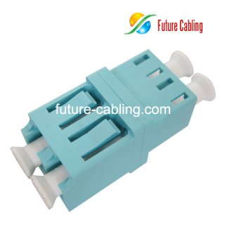 LC 10 Gigabit OM3 Fiber Optic Adapter, Duplex, Multimode, Aqua