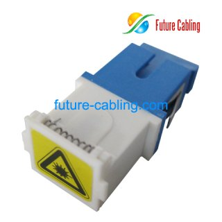 SC Flangeless Fiber Optic Adapter, Simplex, Singlemode, with Shutter Dust Cover
