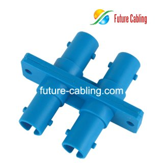 ST Fiber Optic Adapter, Duplex, Singlemode, Plastic Housing