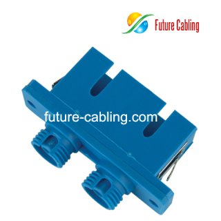 SC-FC Hybrid Fiber Optic Adapter, Duplex, Singlemode, Plastic Housing