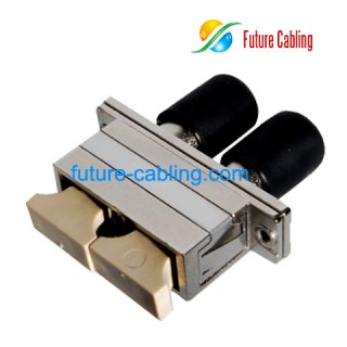 SC-ST Hybrid Fiber Optic Adapter, Duplex, Multimode, Metal Housing