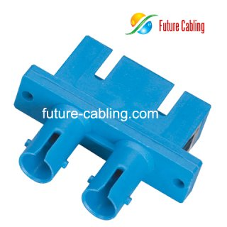 SC-ST Hybrid Fiber Optic Adapter, Duplex, Singlemode, Plastic Housing