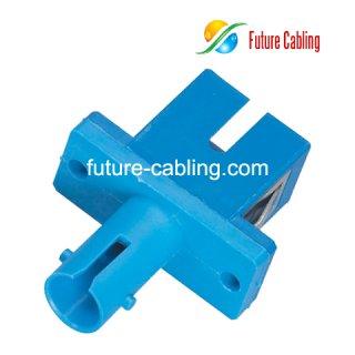 SC-ST Hybrid Fiber Optic Adapter, Simplex, Singlemode, Plastic Housing