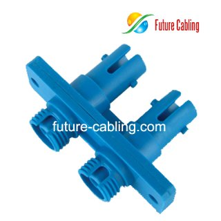 FC-ST Hybrid Fiber Optic Adapter, Duplex, Singlemode, Plastic Housing