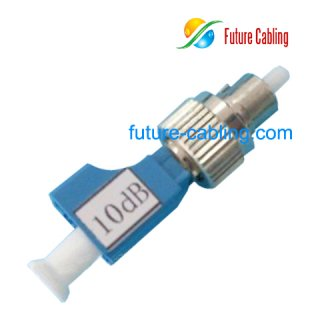 FC Male to LC Female Hybrid Fiber Optiic Attenuator, 10dB
