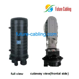 Fiber Optic Splice Closure, 4 Port, 2 in 2 out, can be installed with one 1*16 Spliter or two 1*8 Splitter