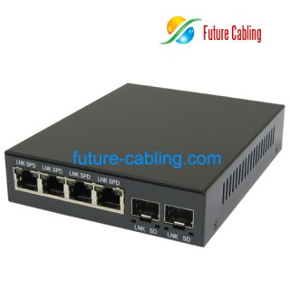 Fiber Optic Media Converter, with 2 SFP Slot and 4 RJ45 Port