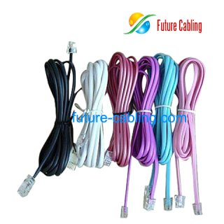 1 Pair Flat Telephone Cords, with 6P2C American Plug, 1 Meter