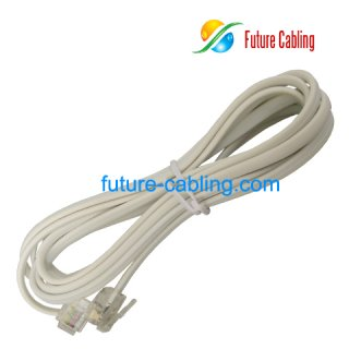2 Pair Flat Telephone Cords with 6P4C American Plug on both Ends, 1 Meter