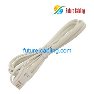 2 Pair Flat Telephone Cords with 6P4C British Plug at One End and American 6P4C Plug at the Other End, 1 Meter