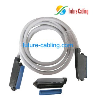 25 Pair Telco Cable, with 90 Degree Plastic Connectors, Male to Male, 3 Meters