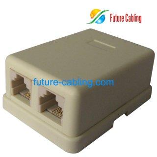 2 Port Telephone Surface Mount Box, 6P4C