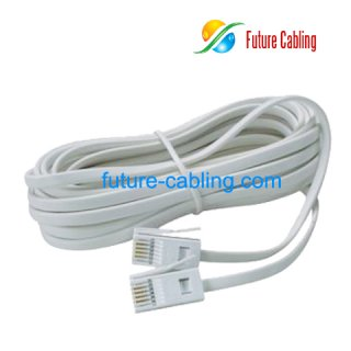 Pair Flat Telephone Cords With British P C Plug on Surface Mount Telephone Wall Jack