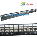 Cat6a 24 Port Patch Panel, Suit for both UTP and FTP Cat6a Keystone Jack